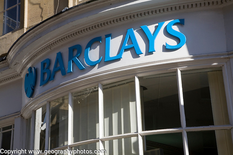 Old bow windowed Barclays bank frontage, Milsom Street, Bath, Somerset, England