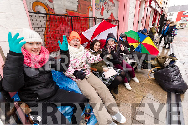Tralee Teenagers queuing for Ed Sheeran tickets since Tuesday morning, From left: Adam Costello, Sarah Tansley, Chloe Walsh, Leona O'Shea and Eoghan Murphy.