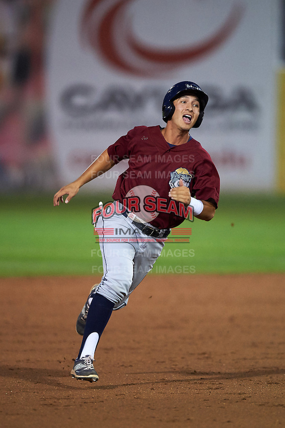 Mahoning Valley Scrappers second baseman Mark Mathias (29) running the bases during a game against the Auburn Doubledays on September 4, 2015 at Falcon Park in Auburn, New York.  Auburn defeated Mahoning Valley 5-1.  (Mike Janes/Four Seam Images)