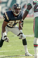 MIAMI, FL - DEC 19, 1999:  Cornerback Charles Dimry, #27 is shown on the field as the Miami Dolphins defeat his San Diego Chargers 12-9 at Joe Robbie Stadium, in Miami, FL. (Photo by Brian Cleary/www.bcpix.com)