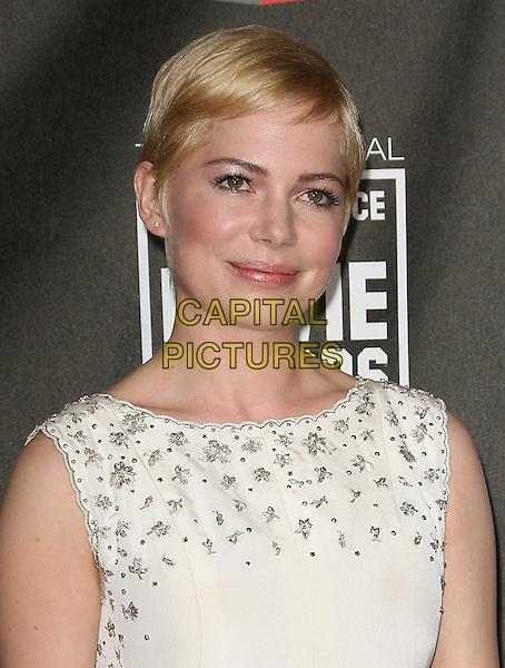 MICHELLE WILLIAMS .at The16th Annual Critics' Choice Movie Awards held at The Hollywood Palladium in Hollywood, California, USA, January 14th, 2011..portrait headshot sleeveless white dress cream beaded neckline .CAP/RKE/DVS.©DVS/RockinExposures/Capital Pictures.