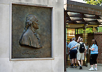 Bronze relief of George Washington guides tourists to the visitors center at Mt Vernon, Virginia, USA