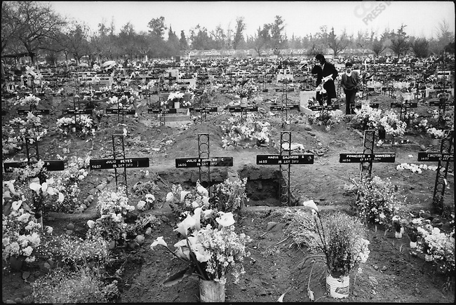The Cementerio General, in which many victims of the September 11, 1973 coup were buried. Santiago, Chile, September 1973.