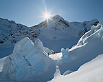 Skiers on Tasman Glacier. Mount Cook National Park. New Zealand.
