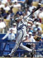 Richie Sexson of the Milwaukee Brewers bats during a 2002 MLB season game against the Los Angeles Dodgers at Dodger Stadium, in Los Angeles, California. (Larry Goren/Four Seam Images)