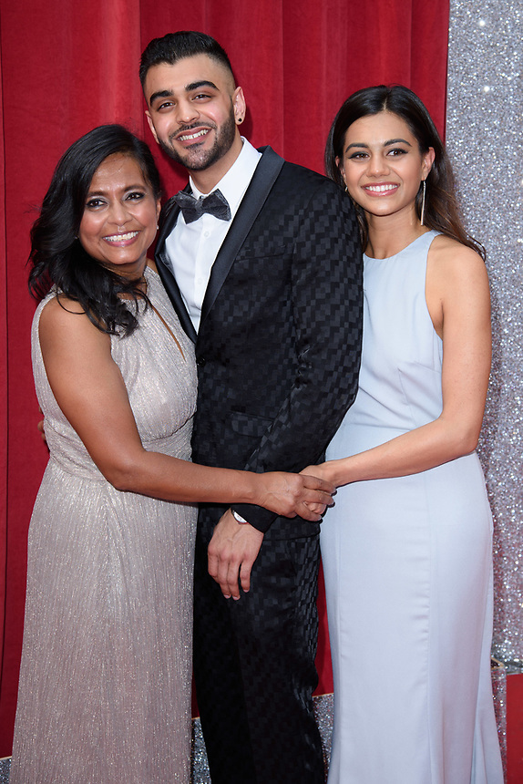 Bharti Patel, Sunjay Midda and Lisa Amlalamanar<br /> arriving for the British Soap Awards 2018 at the Hackney Empire, London<br /> <br /> ©Ash Knotek  D3405  02/06/2018