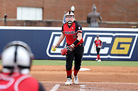 GREENSBORO, NC - MARCH 11: Dayton Elliott #20 of Northern Illinois University pitches the ball during a game between Northern Illinois and UNC Greensboro at UNCG Softball Stadium on March 11, 2020 in Greensboro, North Carolina.
