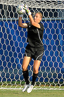 27 August 2011:  FIU's Kaitlyn Savage (00) hauls in the ball during pre-game warm-ups.  The FIU Golden Panthers defeated the University of Arkon Zips, 1-0, at University Park Stadium in Miami, Florida.