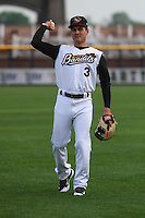 Quad Cities River Bandits shortstop Mott Hyde (3) during warmups before a Midwest League game against the Wisconsin Timber Rattlers on May 8th, 2015 at Modern Woodmen Park in Davenport, Iowa.  Quad Cities defeated Wisconsin 11-6.  (Brad Krause/Four Seam Images)