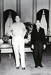 Japanese Emperor Hirohito (R ), Douglas MacArthur(L), September 27, 1945. (Photo by Kingendai Photo Library/AFLO)