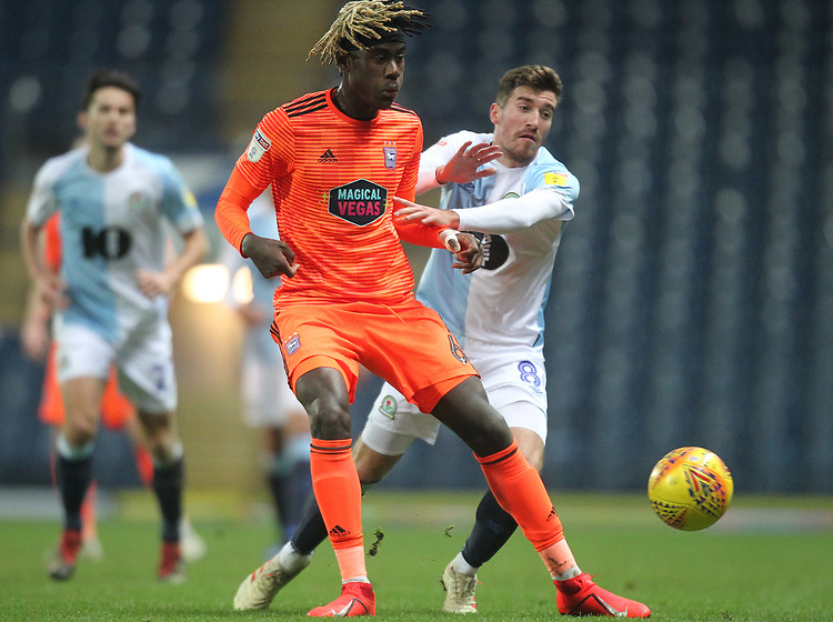 Blackburn Rovers Joe Rothwell  battles with  Ipswich Town's Trevoh Chalobah <br /> <br /> Photographer Mick Walker/CameraSport<br /> <br /> The EFL Sky Bet Championship - Blackburn Rovers v Ipswich Town - Saturday 19 January 2019 - Ewood Park - Blackburn<br /> <br /> World Copyright &copy; 2019 CameraSport. All rights reserved. 43 Linden Ave. Countesthorpe. Leicester. England. LE8 5PG - Tel: +44 (0) 116 277 4147 - admin@camerasport.com - www.camerasport.com