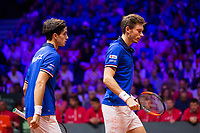 Le joueurs de tennis Nicolas Mahut  & Pierre-Hugues Herbert opposés aux joueurs Croates Mate Pavic & Ivan Dodig lors de la  Finale du double de la Coupe Davis France vs Croatie, au Stade Pierre Mauroy à Villeneuve d'Ascq .<br /> France, Villeneuve d'Ascq , 24 novembre 2018.<br /> French tennis players Nicolas Mahut  & Pierre-Hugues Herbert vs Croatian tennis players Mate Pavic & Ivan Dodig, during the final of the Davis Cup, at the Pierre Mauroy stadium in Villeneuve d'Ascq .<br /> France, Villeneuve d'Ascq , 24 November 2018