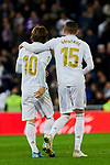 Luka Modric (L) and Fede Valverde (R) of Real Madrid celebrate goal during La Liga match between Real Madrid and Real Sociedad at Santiago Bernabeu Stadium in Madrid, Spain. November 23, 2019. (ALTERPHOTOS/A. Perez Meca)