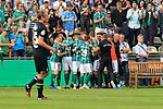 11.08.2019, Stadion Lohmühle, Luebeck, GER, DFB-Pokal, 1. Runde VFB Lübeck vs 1.FC St. Pauli<br /> <br /> DFB REGULATIONS PROHIBIT ANY USE OF PHOTOGRAPHS AS IMAGE SEQUENCES AND/OR QUASI-VIDEO.<br /> <br /> im Bild / picture shows<br /> Torjubel/Jubel. Torschütze/Torschuetze Yannick Deichmann (VfB Luebeck)  jubelt ueber das Tor zum 1:0.<br /> <br /> Foto © nordphoto / Freund