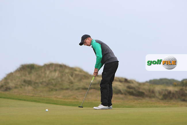 Marc Norton (Belvoir Park) on the 7th green during Round 3 of the Flogas Irish Amateur Open Championship 2017 at Royal County Down on Saturday 13th May 2017.<br /> Photo: Golffile / Thos Caffrey.<br /> <br /> All photo usage must carry mandatory copyright credit     (&copy; Golffile | Thos Caffrey)