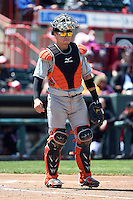 Akron RubberDucks catcher Tony Wolters (1) during a game against the Erie SeaWolves on May 18, 2014 at Jerry Uht Park in Erie, Pennsylvania.  Akron defeated Erie 2-1.  (Mike Janes/Four Seam Images)