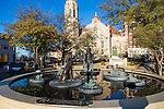 The Five Points South neighborhood in Birmingham, Alabama.  The Storyteller Fountain in the heart of 5 Points South in front of the Highlands United Methodist Church