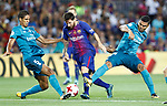FC Barcelona's Leo Messi (c) and Real Madrid's Raphael Varane (l) and Carlos Henrique Casemiro during Supercup of Spain 1st match. August 13,2017. (ALTERPHOTOS/Carrusan)