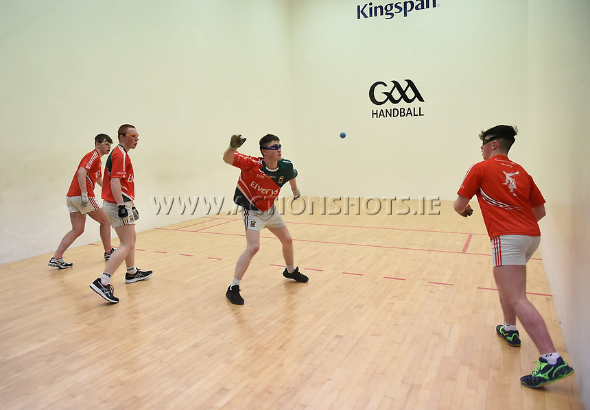 19/03/2018; 40x20 All Ireland Juvenile Championships Finals 2018; Kingscourt, Co Cavan;<br /> Boys Under-17 Doubles; Mayo (Alan Masterson/Patrick Carroll) v Cork (Luke Barrett/Colin Healy)<br /> Photo Credit: actionshots.ie/Tommy Grealy