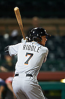 Mesa Solar Sox shortstop J.T. Riddle (7) at bat during an Arizona Fall League game against the Scottsdale Scorpions on October 20, 2015 at Scottsdale Stadium in Scottsdale, Arizona.  Mesa defeated Scottsdale 5-4.  (Mike Janes/Four Seam Images)