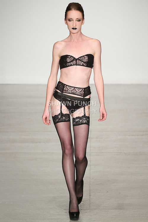 Model walks runway in lingerie from the The Lilith Collection by Olivia Danielle, for the Lingerie Fashion Week SS15 Official Closing Show, during LingerieFW Spring Summer 2015.