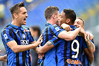 Luis Muriel of Atalanta BC (C) celebrates after scoring the goal of 0-2 with Alejandro Papu Gomez (R), Robin Gosens and Rafael Toloi <br /> Roma 19-10-2019 Stadio Olimpico <br /> Football Serie A 2019/2020 <br /> SS Lazio - Atalanta<br /> Foto Andrea Staccioli / Insidefoto