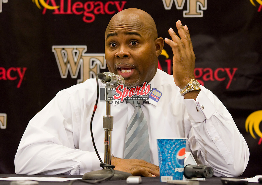 North Carolina State Wolfpack head coach Sidney Lowe answers questions following the game against the Wake Forest Demon Deacons at the Lawrence Joel Veterans Memorial Coliseum December 20, 2009, in Winston-Salem, North Carolina.  The Demon Deacons defeated the Wolfpack 67-59.  Photo by Brian Westerholt / Sports On Film
