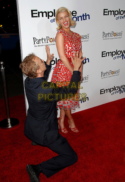 "ANDY DICK & JESSICA SIMPSON.The Lions Gate Premiere of ""Employee of the Month"" held at The Grauman's Chinese Theatre in Hollywood, California, USA..September 19th, 2006.Ref: DVS.full length white sheer see through thru red polka dot dress belt shoes lace up hands funny gesture kneeling laughing blue suit.www.capitalpictures.com.sales@capitalpictures.com.©Debbie VanStory/Capital Pictures"