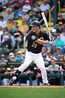 Pittsburgh Pirates first baseman Jake Goebbert (23) at bat during a Spring Training game against the Toronto Blue Jays  on March 3, 2016 at McKechnie Field in Bradenton, Florida.  Toronto defeated Pittsburgh 10-8.  (Mike Janes/Four Seam Images)