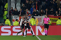 26th November 2019; Allianz Stadium, Turin, Italy; UEFA Champions League Football, Juventus versus Atletico Madrid; Paulo Dybala of Juventus celebrates after scoring the goal of 1-0 for Juventus directly from a free kick in the 46th minute  - Editorial Use