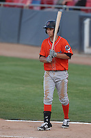 Bo Way (12) of the Inland Empire 66ers bats during a game against the High Desert Mavericks at Mavericks Stadium on May 6, 2015 in Adelanto, California. Inland Empire defeated High Desert, 10-4. (Larry Goren/Four Seam Images)
