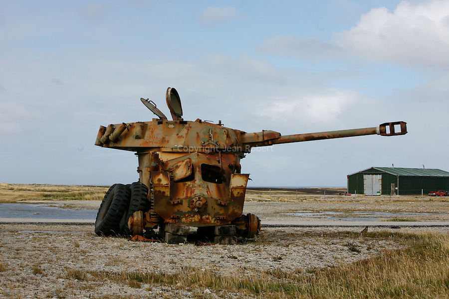 wreck of a argentine tank left over from the Falklands war at the entrance of the Falklands airfield 10 km  from stanley