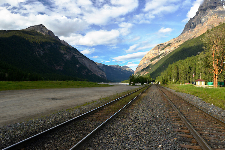 The Kicking Horse river valley at Field, Yoho National Park, British Columbia, Canada