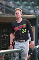 Great Falls Voyagers outfielder Alex Destino (24) in the dugout before a Pioneer League against the Ogden Raptors at Lindquist Field on August 23, 2018 in Ogden, Utah. The Ogden Raptors defeated the Great Falls Voyagers by a score of 8-7. (Zachary Lucy/Four Seam Images)