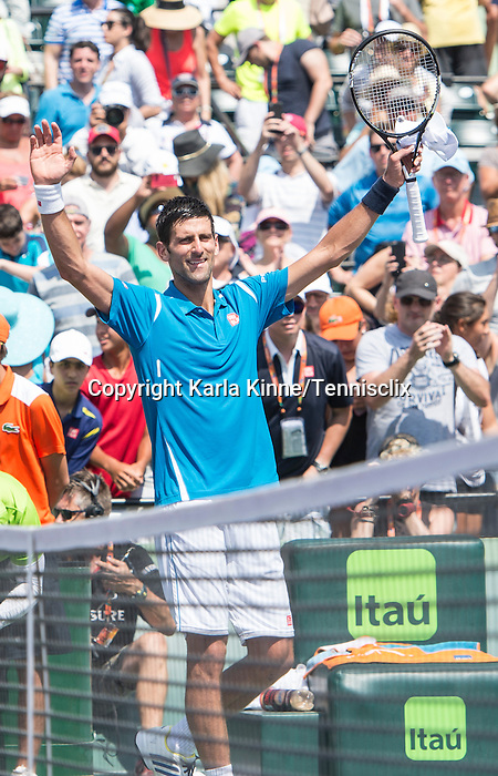 April 1 2016: Novak Djokovic (SRB) defeats David Goffin (BEL) by 7-6, 6-4 at the Miami Open being played at Crandon Park Tennis Center in Miami, Key Biscayne, Florida. ©Karla Kinne/Tennisclix/Cal Sports Media