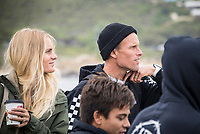 MARGARET RIVER, Western Australia/AUS (Friday, April 13, 2018) Pat Gudauskas (USA) and wife Hanalei Reponty (FRA) - After back-to-back lay days, the opening of the Margaret River Pro did not disappoint today as the world&rsquo;s best surfers took on heavy six-to-eight foot (1.8 - 2.7 metre) conditions at North Point. North Point, the backup event site known for some of the longest and most intense barrels in the world, challenged the surfers in the first seven heats of men&rsquo;s Round 1 at Stop No. 3 on the World Surf League (WSL) Championship Tour. <br /> <br /> Reigning, two-time WSL Champion John John Florence (HAW) found redemption in his opening heat, overcoming wildcard Mikey Wright (AUS), who famously eliminated him in last place at Stop No. 1 on the Gold Coast earlier this year. It was bound to be a monumental heat as the reigning Margaret River Pro event winner needed to regain his footing against Wright and 2018 CT Rookie Wade Carmichael (AUS). All three competitors found incredible waves, but it was Florence whose finesse and timing in the tube saw him take the win with a 14.60 heat total (out of a possible 20).  <br />  Photo: joliphotos.com