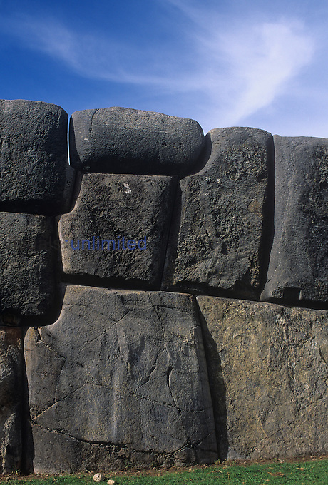 Megalithic stonework in the Incan ruins of Sacsayhuaman in the Andes of Peru.
