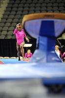 02/20/09 - Photo by John Cheng for USA Gymnastics.  US gymnast Halie Mossett performs on Vault in a meet against Japan before the Tyson American Cup at Sears Centre Arena in Chicago.