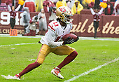 San Francisco 49ers wide receiver Richie James, Jr. (13) fields a punt in fourth quarter action against the Washington Redskins at FedEx Field in Landover, Maryland on Sunday, October 20, 2018.  The 49ers won the game 9 - 0.<br /> Credit: Ron Sachs / CNP