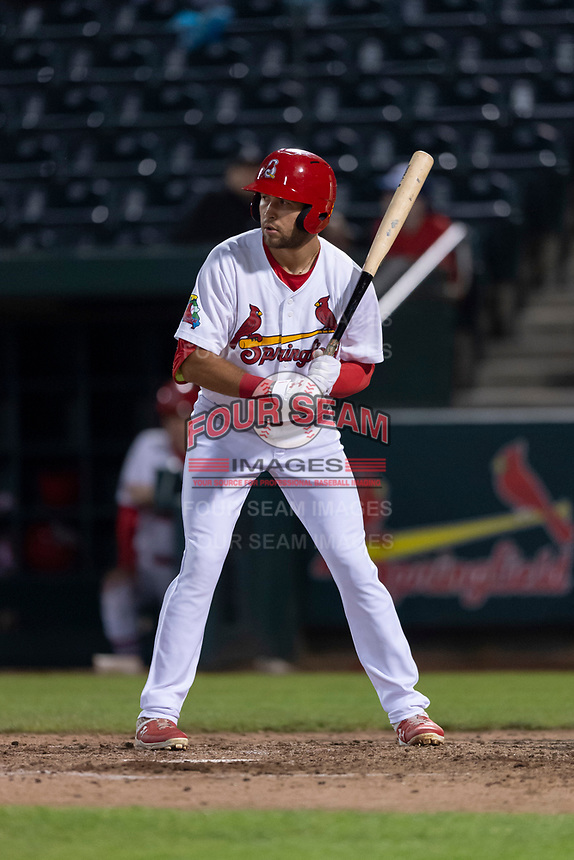 Springfield Cardinals center fielder Dylan Carlson (8) during a Texas League game against the Amarillo Sod Poodles on April 25, 2019 at Hammons Field in Springfield, Missouri. Springfield defeated Amarillo 8-0. (Zachary Lucy/Four Seam Images)