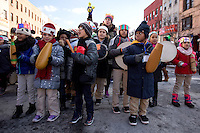 NEW YORK - JANUARY 06: Children play music during Three Kings Day Parade in East Harlem January 6, 2017 in New York City. The parade celebrates the Feast of the Epiphany, also known as Three Kings Day, marking the Biblical story of the visit of three kings to Bethlehem to visit the baby Jesus, revealing his divinity. Photo by VIEWpress/Maite H. Mateo