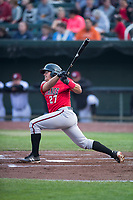 Billings Mustangs second baseman Dylan Harris (27) follows through on his swing during a Pioneer League game against the Idaho Falls Chukars at Melaleuca Field on August 22, 2018 in Idaho Falls, Idaho. The Idaho Falls Chukars defeated the Billings Mustangs by a score of 5-3. (Zachary Lucy/Four Seam Images)