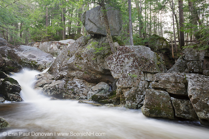 Balance Rock and Bell's Cascade along Gordon Pond Brook in North Woodstock, New Hampshire USA during the spring months.