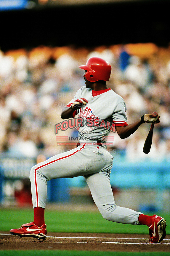 Doug Glanville of the Philadelphia Phillies during a game against the Los Angeles Dodgers at Dodger Stadium circa 1999 in Los Angeles, California. (Larry Goren/Four Seam Images)