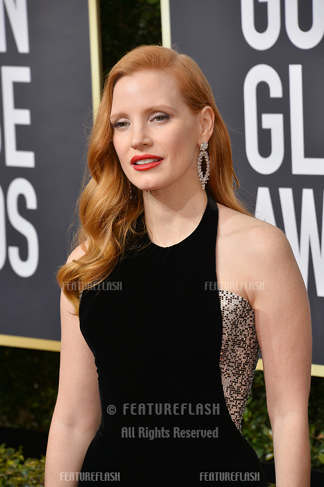 Jessica Chastain at the 75th Annual Golden Globe Awards at the Beverly Hilton Hotel, Beverly Hills, USA 07 Jan. 2018<br /> Picture: Paul Smith/Featureflash/SilverHub 0208 004 5359 sales@silverhubmedia.com