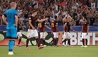 Calcio, Champions League, Gruppo E: Roma vs Barcellona. Roma, stadio Olimpico, 16 settembre 2015.<br /> Roma's Alessandro Florenzi, third from right, celebrates with teammates after scoring during a Champions League, Group E football match between Roma and FC Barcelona, at Rome's Olympic stadium, 16 September 2015.<br /> UPDATE IMAGES PRESS/Isabella Bonotto