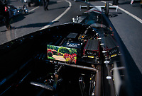Feb 11, 2019; Pomona, CA, USA; Detailed view of the cockpit of the dragster of NHRA top fuel driver Billy Torrence during the Winternationals at Auto Club Raceway at Pomona. Mandatory Credit: Mark J. Rebilas-USA TODAY Sports