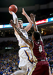 SIOUX FALLS, SD: MARCH 5: 	A.J. Hess #35 from South Dakota State University shoots over Ade Murkey #0 from Denver during the Summit League Basketball Championship on March 5, 2017 at the Denny Sanford Premier Center in Sioux Falls, SD. (Photo by Dave Eggen/Inertia)