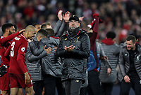 Liverpool manager Jurgen Klopp applauds the fans as he celebrates at the final whistle <br /> <br /> Photographer Rich Linley/CameraSport<br /> <br /> UEFA Champions League Semi-Final 2nd Leg - Liverpool v Barcelona - Tuesday May 7th 2019 - Anfield - Liverpool<br />  <br /> World Copyright © 2018 CameraSport. All rights reserved. 43 Linden Ave. Countesthorpe. Leicester. England. LE8 5PG - Tel: +44 (0) 116 277 4147 - admin@camerasport.com - www.camerasport.com