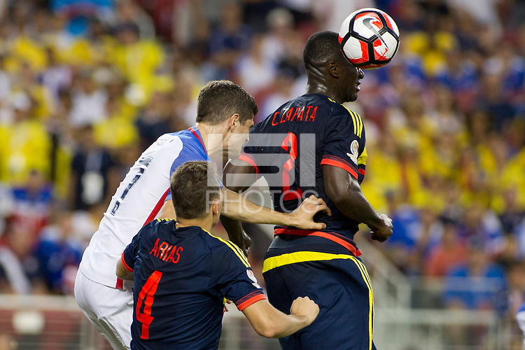 Action photo during the match United States vs Colombia, Corresponding Group -A- America Cup Centenary 2016, at Levis Stadium<br /> <br /> Foto de accion durante el partido Estados Unidos vs Colombia, Correspondiante al Grupo -A-  de la Copa America Centenario USA 2016 en el Estadio Levis, en la foto: i-d) Bobby Wood de USA y Cristian Zapata de Colombia<br /> <br /> <br /> 03/06/2016/MEXSPORT/Victor Posadas.